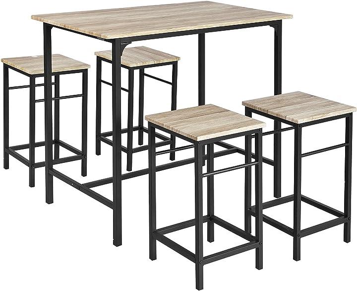 Tavolo con 4 sgabelli, set di mobili da balcone,ogt11-n,it sobuy® set 5 pezzi B0721Q6QDF