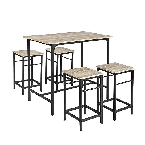 SoBuy OGT11-N Set de 1 Table + 4 Tabourets Ensemble table de bar bistrot + 4 tabourets avec repose-pieds Table Mange-debout Table haute cuisine