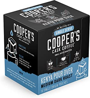 Single-Serve Portable Pour Over Drip Coffee | Kenya Medium Dark | Hanging Ear | Gourmet | 10 Servings Per Box