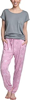 Hanes Women's Short Sleeve Top and Jogger Pant Cargo Pajama Sleep Set with Pockets