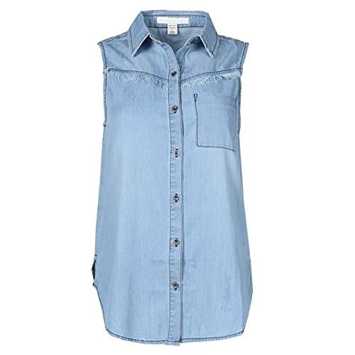 879e7721e4e Awesome21 Women's Casual Relaxed Fit Button Down Collar Denim