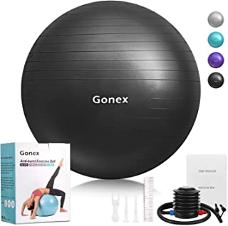 Gonex Exercise Workout Ball, 55 65 75 cm Anti-Burst & Non-Slip Stability Balance Ball for Birthing, Yoga, Pilates, Desk Chairs, Fitness, Quick Pump & Workout Guide Included