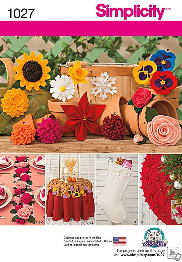 Simplicity Felt Flower Sewing Pattern Craft, One Size Each, 11 Variations Included