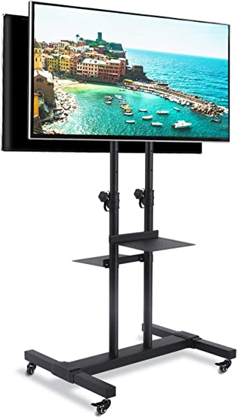 Rfiver Universal Mobile TV Stand Rolling TV Cart With Dual Shelf Tilt Mount And Wheels Heavy Duty Base For 37 40 42 45 47 50 55 60 65 70 75 80 Inch LCD LED OLED Plasma Flat Panel Or Curved Screen TVs