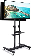 Rfiver 37 to 80 Inch Mobile TV Cart Dual Shelf Universal Flat Screen Rolling TV Stand Trolley Console Stand with Mount for LED LCD Plasma Flat Panels or Curved TV on Wheels