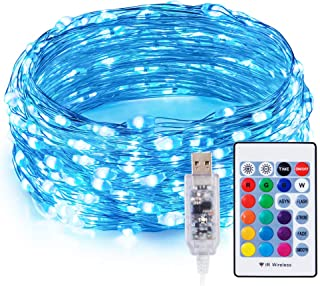 TaoTronics RGB LED String Lights, 33ft 100 LEDs USB Powered Dimmable Copper Wire Fairy String Lights, 15 RGB Colors, 5 Lighting Modes, Remote Control, IP65 Waterproof, Bendable Decorative Lights