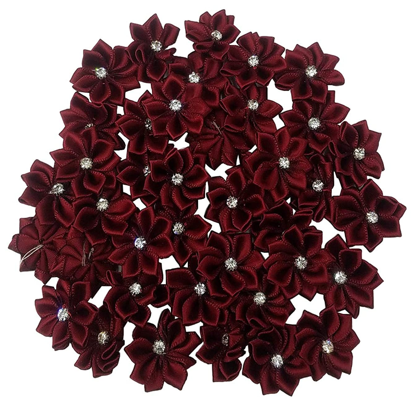 Tianying 40 Pack Satin Ribbon Flowers Bows 1.1in Rhinestones Party Weddng Supply Home Decor DIY Craft (Wine)