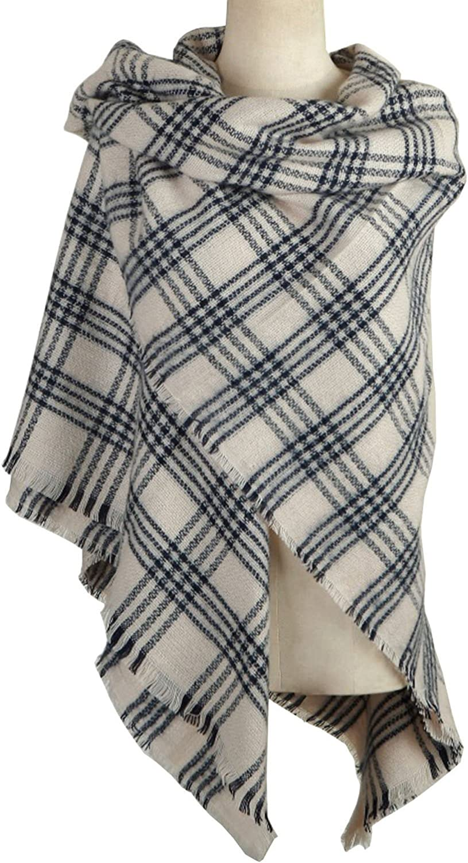 DELEY Retro Weiches Plaid Tartan Herbst Winter Schals Oversized Lange Stola Wrap Deckenschal Beige