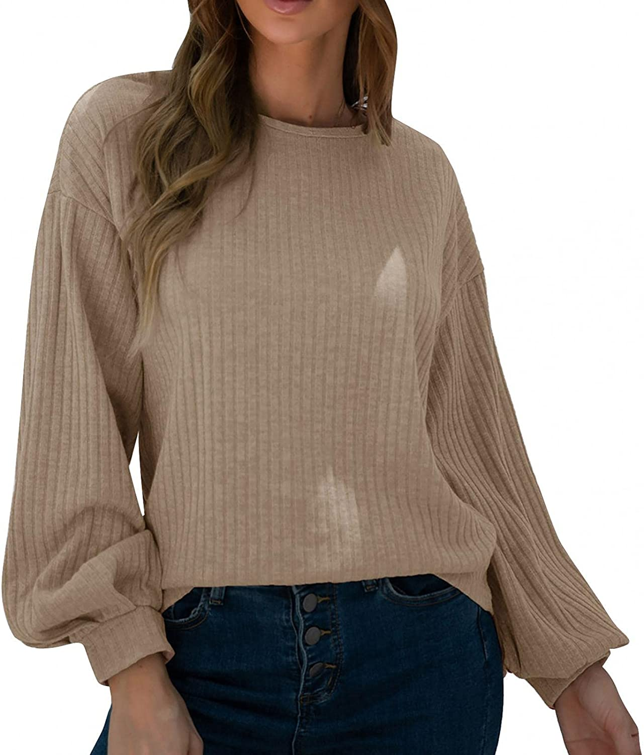 Xinantime Women's Pure Color Sweater Crewneck Long Sleeve Cable Knitted Blouse Causal Lantern Sleeve Sweatshirts