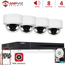 Anpviz 5MP IP POE Security Camera System, 8CH 4K H.265 NVR with 2TB HDD with(4) 5MP Outdoor IP POE Dome Cameras Home Security System with Audio, Weatherproof, 98ft Night Vision, IVMS4200, Hik-Connect