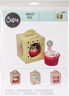 Sizzix Thinlits Die Set 660842, 3D Cupcake Box, 19 Pack, Multi Color, One Size,