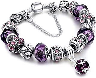 Mother Charms Bracelet for Girls and Women Murano Glass Beads Butterfly Flower Charms Amethyst Bracelets
