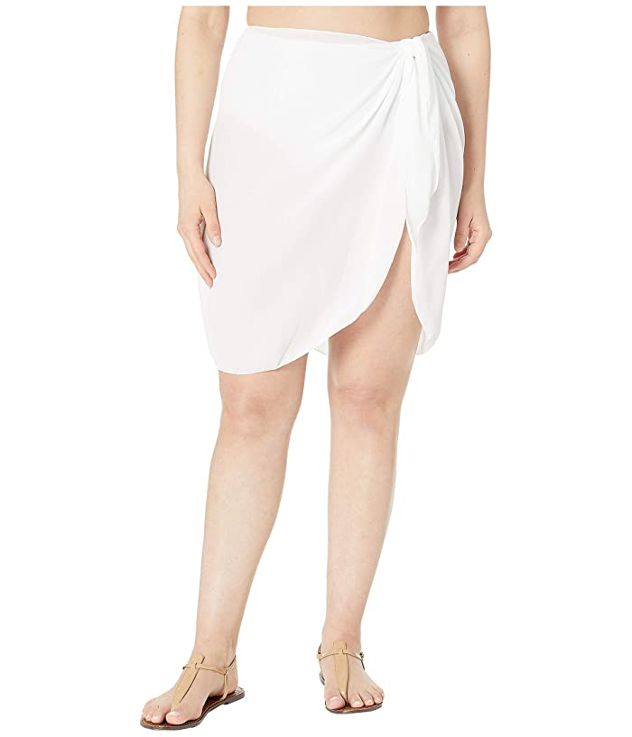 DOTTI Plus Size Short Summer Sarong Pareo Cover-Up (White) Women