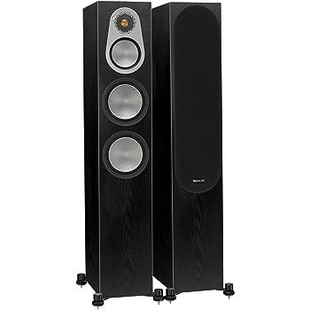 Monitor Audio Silver 300 Floorstanding Speaker Black Oak Pair (Black Oak)