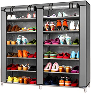 TXT&BAZ 36-Pairs Portable Shoe Rack Double Row with Nonwoven Fabric Cover (7-Tiers Grey)