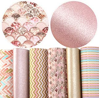 David Angie Geometric Chevron Pattern Faux Leather Sheet Pearl Metallic Synthetic Leather Fabric Assorted 6 Pcs 8