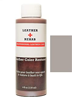 Leather Rehab Leather Color Restorer - Repair & Restore Faded, Worn and Scratched Leather & Vinyl Easily with No Kit - Furniture, Couch, Car Seat, Shoes, Jacket and Boots - 4 oz. Light Gray Pebble