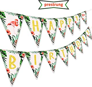 Kitticcino Flamingo Happy Birthday Banner Pennant for Hawaii Topical Palm Leaves Flamingle Party Banner Decorations