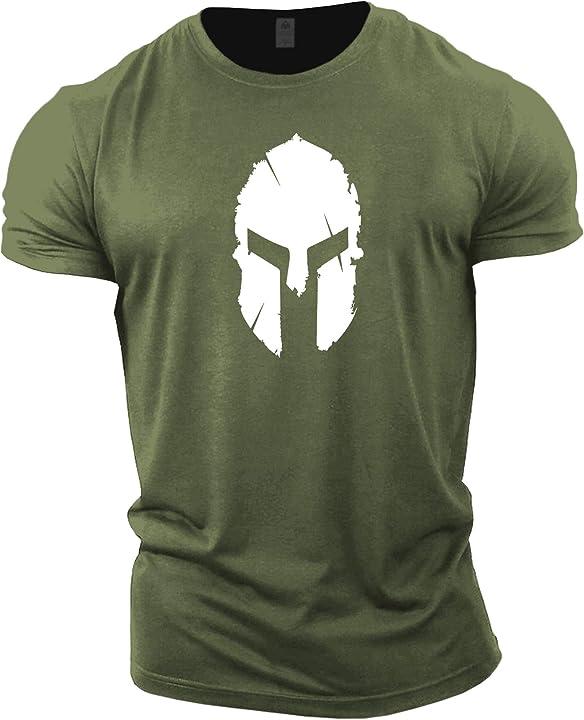 Magliette da uomo per bodybuilding - spartan helmet - allenamento palestra gymtier B076YWBJZ4