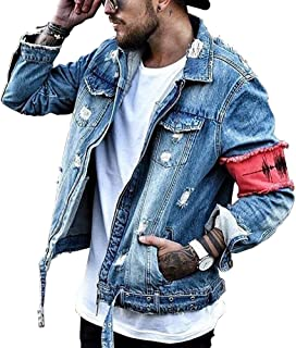 3f9521dd44afc iooho Men's Denim Jacket Ripped Distressed Jeans Jacket Rugged Trucker  Jacket for Man