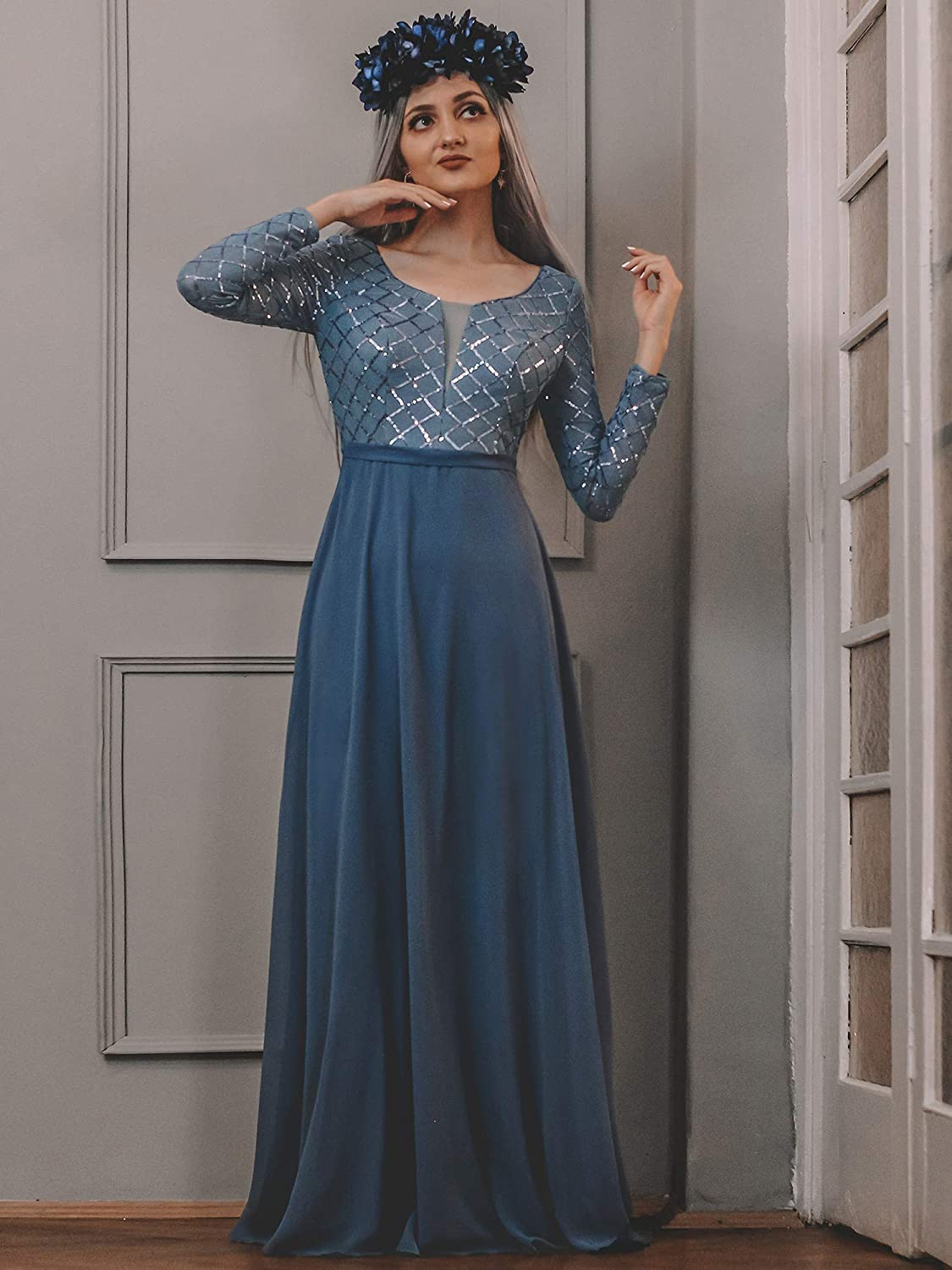 Ever-Pretty Womens Elegant Round Neck Long Sleeve A-Line Floor Length Evening Dresses with Sequins 00312