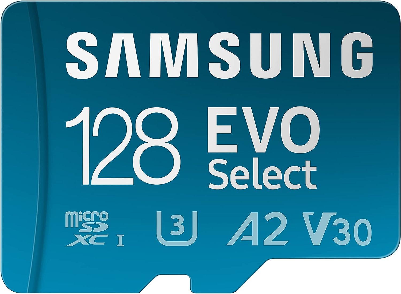 SAMSUNG EVO Select + Adapter 128GB microSDXC 130MB/s Full HD & 4K UHD, UHS-I, U3, A2, V30 (MB-ME128KA/AM)
