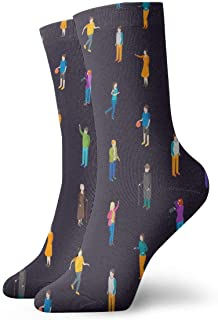 Luxury Calcetines de Deporte People Characters Pattern Unisex Socks, All-Season Lightweight Ankle Socks Crew Socks