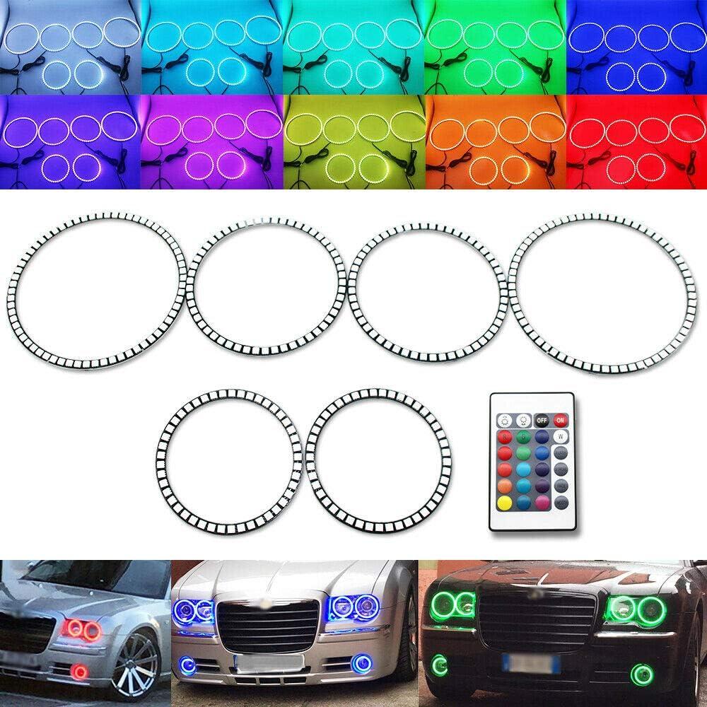 6pcs Multi-Color Remote Angel Eyes おすすめ特集 RGB 新作送料無料 Hal Fog Headlight Light +