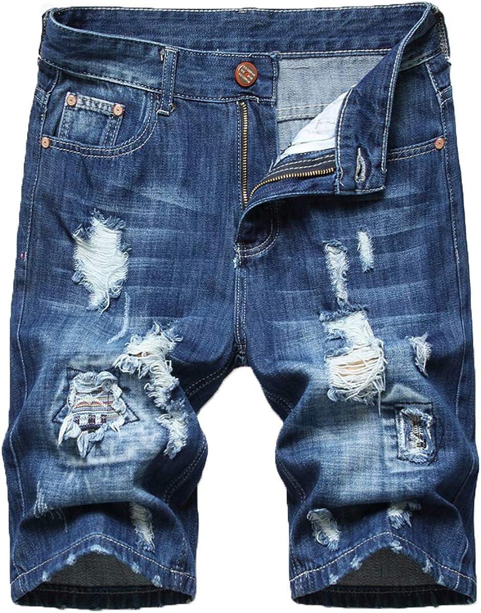 HiLY Men's Casual Denim Shorts Straight Leg Slim Fit Summer Jeans Shorts Classic Blue