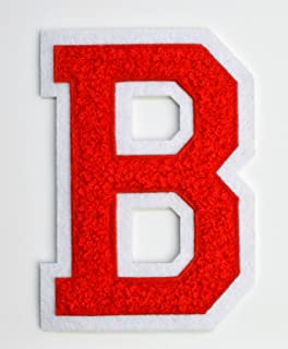 Varsity Letter Patches - Red Embroidered Chenille Letterman Patch - 4 1/2 inch Iron-On Letter Initials (Red, Letter B Patch)