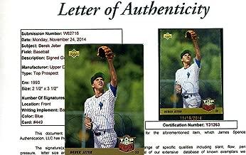 Derek Jeter Rookie Vintage Authenticated Autograph 1993 Upper Deck Signed - JSA Certified - Baseball Slabbed Autographed Rookie Cards