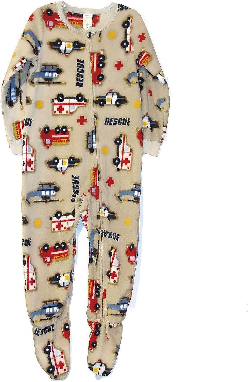 Boy's Size 4 Gray Rescue Vehicles Fleece Footed Blanket Pajama Sleeper