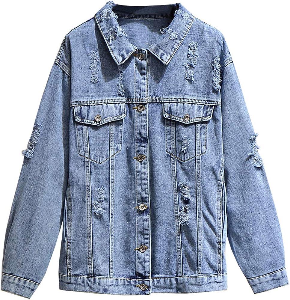 SCOFEEL Women's Denim Jacket Button Down Long Sleeve Distressed Ripped Jean Jacket Coat Plus Size