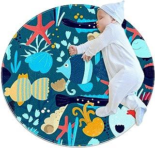 Soft Round Area Rug 80x80cm/31.5x31.5IN Anti-Slip Floor Circle Mats Absorbent Memory Sponge Standing Mat,Fish Underwater