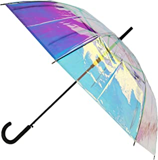 CTM Women's Iridescent Stick Umbrella with Hook Handle