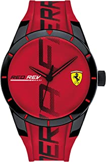 Ferrari Mens Quartz Watch, Analog Display and Silicone Strap 830617