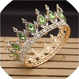 Crystal Vintage Royal Queen King Tiaras and Crowns Men/Women Pageant Prom Diadem Hair Ornaments Wedding Hair Jewelry Accessories,Gold Light Green