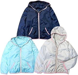 (グレー/140cm) 子供服 女の子 アウター フルジップ ジャケット ポケッタブル コンパクトに収納 フード付 カラーパイピング 女児 ジュニア