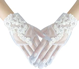 Auch Elegant Soft Lace Gloves for Wedding Opera Party Flapper Lace Gloves Wrist Banquet Engagement Party Gloves Summer Dan...