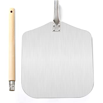 Homevibes Aluminum Pizza Peel with Wood Handle 13-Inch x 12-Inch Kitchen Supply for Baking Homemade Pizza Bread