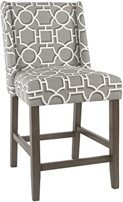 Benjara Wooden Counter Stool with Lattice Plaid Fabric Upholstered Seat, Gray and Brown