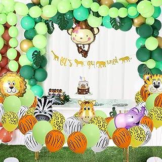 Jungle Safari Theme Party Decorations 174pcs:130 latex balloons,24 Green Palm Leaves, 16 feets Arch Balloon strip t...