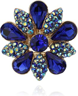 Fashion Flower Stretch Adjustable Ring Embellished with Beautiful Marquise and Teardrop Austrian Crystal Rhinestones