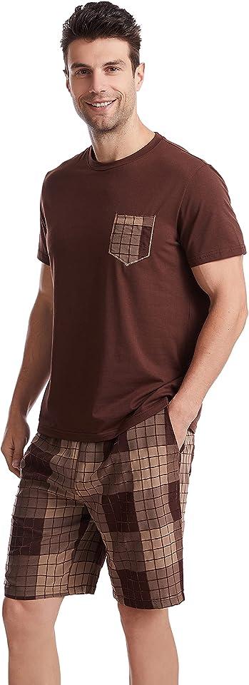 Mens Short Pyjamas Loungewear Set Short Sleeve Top & Shorts