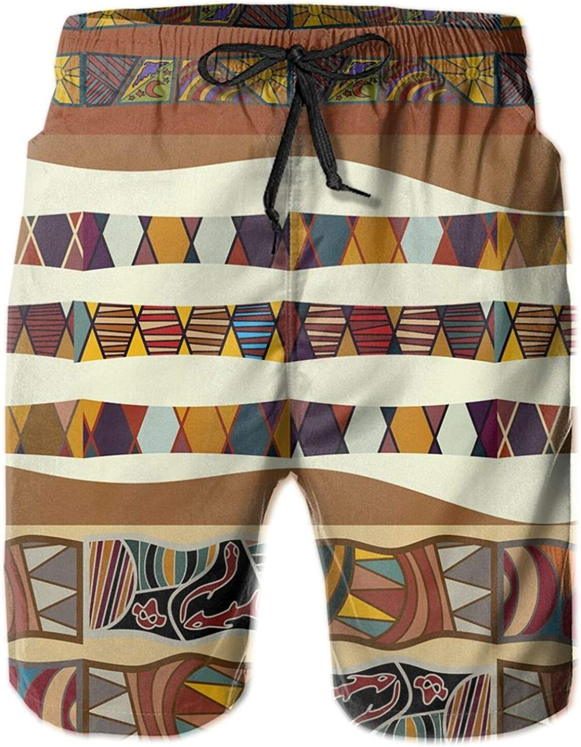 Traditional African Folk with Cultural Featured Trippy Icons Boho Abstract Design Drawstring Waist Beach Shorts for Men Swim Trucks Board Shorts with Mesh Lining,L
