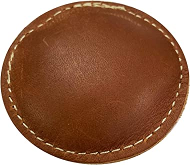 """2 1/2"""" Circle Shot Filled Leather (Map) Paperweight"""
