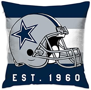 Gdcover Custom Stripe Dallas Cowboys Pillow Covers Standard Size Throw Pillow Cases Decorative Cotton Pillowcase Protecter with Zipper - 18x18 Inches