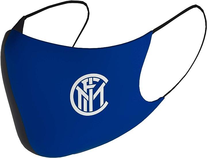 Mascherina fc inter  - internazione milano -calcio - mascherina facciale unisex,adulto, blu, 3 pezzi S301