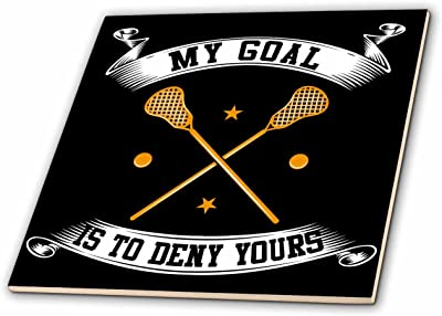 3dRose Sven Herkenrath Sport - My Goal is to Deny Yours Lacrosse Bats on Black Background