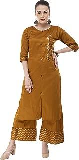 DesiNoor A Beautiful Designer set Jam Cotton Silk Kurta and Palazzo in Rust colour with Beads and Dabka hand work. DN0113R.